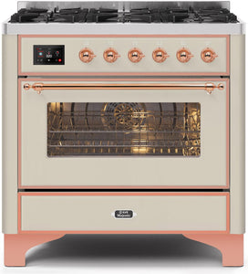 "ILVE 36"" Majestic II Series Propane Gas Burner and Electric Oven Range in Antique White with Copper Trim, UM096DNS3AWPLP"
