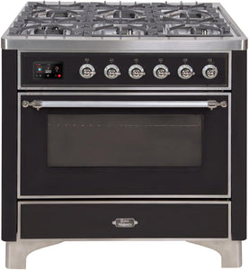 "ILVE 36"" Majestic II Series Natural Gas Burner and Single Electric Oven in Glossy Black with Chrome Trim, UM096DNS3BKCNG"