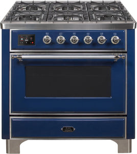 "ILVE 36"" Majestic II Series Natural Gas Burner and Single Electric Oven in Midnight Blue with Chrome Trim, UM096DNS3MBCNG"
