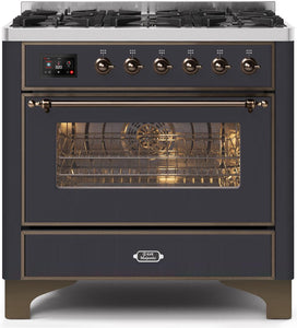 "ILVE 36"" Majestic II Series Natural Gas Burner and Single Electric Oven in Matte Graphite with Bronze Trim, UM096DNS3MGBNG"