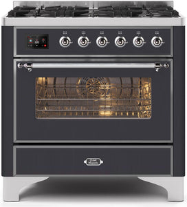 "ILVE 36"" Majestic II Series Natural Gas Burner and Single Electric Oven in Matte Graphite with Chrome Trim, UM096DNS3MGCNG"