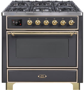 "ILVE 36"" Majestic II Series Natural Gas Burner and Single Electric Oven in Matte Graphite with Brass Trim, UM096DNS3MGGNG"