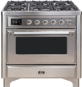 "ILVE 36"" Majestic II Series Natural Gas Burner and Single Electric Oven in Stainless Steel with Chrome Trim, UM096DNS3SSCNG"
