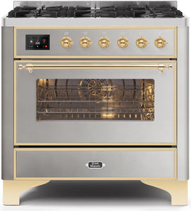 "ILVE 36"" Majestic II Series Natural Gas Burner and Single Electric Oven in Stainless Steel with Brass Trim, UM096DNS3SSGNG"