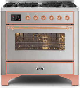 "ILVE 36"" Majestic II Series Natural Gas Burner and Single Electric Oven in Stainless Steel with Copper Trim, UM096DNS3SSPNG"