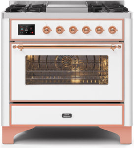 "ILVE 36"" Majestic II Series Natural Gas Burner and Single Electric Oven in White with Copper Trim, UM09FDNS3WHPNG"