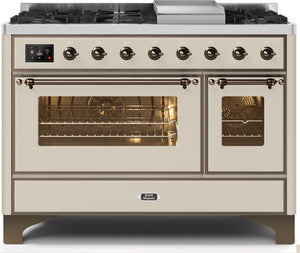 "ILVE 48"" Majestic II Series Natural Gas Burner and Electric Oven Double Oven Range in Antique White with Bronze Trim, UM12FDNS3AWBNG"