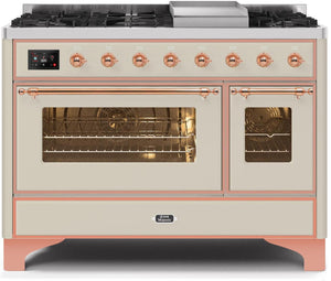 "ILVE 48"" Majestic II Series Natural Gas Burner and Double Electric Oven in Antique White with Copper Trim, UM12FDNS3AWPNG"