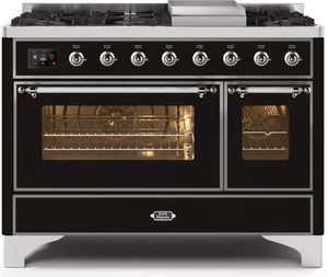 "ILVE 48"" Majestic II Series Propane Gas Burner and Electric Oven Double Oven Range in Gloss Black with Chrome Trim, UM12FDNS3BKCLP"