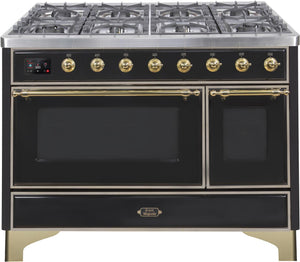 "ILVE 48"" Majestic II Series Natural Gas Burner and Double Electric Oven in Glossy Black with Brass Trim, UM12FDNS3BKGNG"