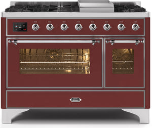 "ILVE 48"" Majestic II Series Natural Gas Burner and Electric Oven Double Oven Range in Burgundy with Chrome Trim, UM12FDNS3BUCNG"