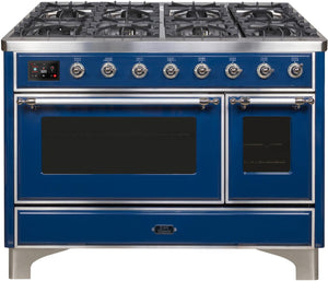 "ILVE 48"" Majestic II Series Natural Gas Burner and Double Electric Oven in Midnight Blue with Chrome Trim, UM12FDNS3MBCNG"