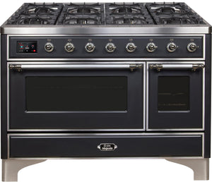 "ILVE 48"" Majestic II Series Natural Gas Burner and Double Electric Oven in Matte Graphite with Chrome Trim, UM12FDNS3MGCNG"