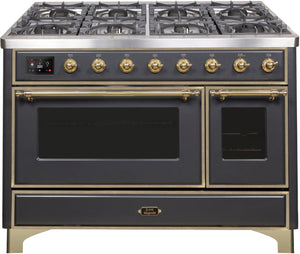 "ILVE 48"" Majestic II Series Natural Gas Burner and Double Electric Oven in Matte Graphite with Brass Trim, UM12FDNS3MGGNG"