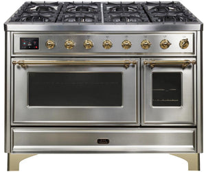 "ILVE 48"" Majestic II Series Natural Gas Burner and Double Electric Oven in Stainless Steel with Brass Trim, UM12FDNS3SSGNG"