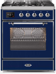 "ILVE 30"" Majestic II Series Propane Gas Burner and Electric Oven Range in Midnight Blue with Chrome Trim, UM30DNE3MBCLP test"