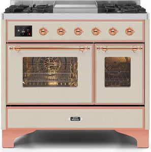 "ILVE 40"" Majestic II Series Propane Gas Burner and Electric Oven Range in Antique White with Copper Trim, UMD10FDNS3AWPLP"