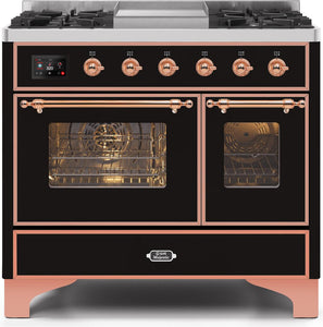 "ILVE 40"" Majestic II Series Propane Gas Burner and Electric Oven Range in Glossy Black with Copper Trim, UMD10FDNS3BKPLP"