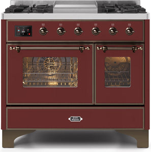 "ILVE 40"" Majestic II Series Natural Gas Burner and Electric Oven Double Oven Range in Burgundy with Bronze Trim, UMD10FDNS3BUBNG"