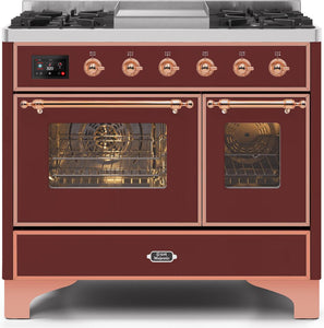 "ILVE 40"" Majestic II Series Natural Gas Burner and Electric Oven Double Oven Range in Burgundy with Copper Trim, UMD10FDNS3BUPNG"