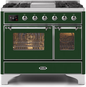 "ILVE 40"" Majestic II Series Propane Gas Burner and Electric Oven Double Oven Range in Emerald Green with Chrome Trim, UMD10FDNS3EGCLP"