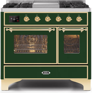 "ILVE 40"" Majestic II Series Propane Gas Burner and Electric Oven Double Oven Range in Emerald Green with Brass Trim, UMD10FDNS3EGGLP"