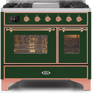 "ILVE 40"" Majestic II Series Natural Gas Burner and Electric Oven Double Oven Range in Emerald Green with Copper Trim, UMD10FDNS3EGPNG"