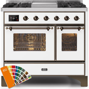 "ILVE 40"" Majestic II Series Propane Gas Burner and Electric Oven Double Oven Range in Custom RAL Color with Bronze Trim, UMD10FDNS3RALBLP"