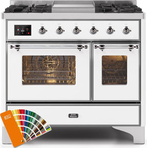 "ILVE 40"" Majestic II Series Natural Gas Burner and Electric Oven Double Oven Range in Custom RAL Color with Chrome Trim, UMD10FDNS3RALCNG"