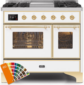 "ILVE 40"" Majestic II Series Natural Gas Burner and Electric Oven Double Oven Range in Custom RAL Color with Brass Trim, UMD10FDNS3RALGNG"