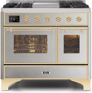 "ILVE 40"" Majestic II Series Propane Gas Burner and Electric Oven Range in Stainless Steel with Brass Trim, UMD10FDNS3SSGLP"