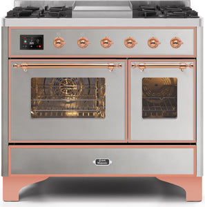 "ILVE 40"" Majestic II Series Propane Gas Burner and Electric Oven Range in Stainless Steel with Copper Trim, UMD10FDNS3SSPLP"