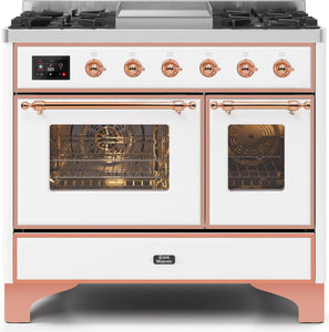 "ILVE 40"" Majestic II Series Propane Gas Burner and Electric Oven Range in White with Copper Trim, UMD10FDNS3WHPLP"