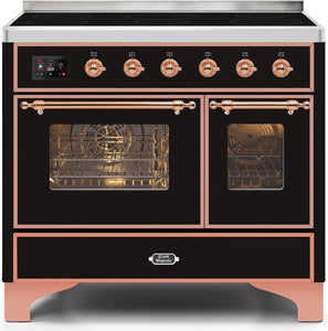 "ILVE 40"" Majestic II Series Electric Induction and Double Oven Range with 6 Elements in Glossy Black with Copper Trim, UMDI10NS3BKP"