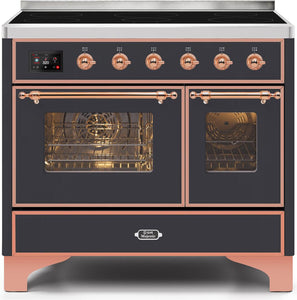 "ILVE 40"" Majestic II Series Electric Induction and Double Oven Range with 6 Elements in Matte Graphite with Copper Trim, UMDI10NS3MGP"