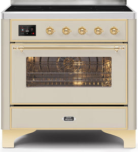 "ILVE 36"" Majestic II Series Electric Induction and Electric Oven Range with 5 Elements in Antique White with Brass Trim, UMI09NS3AWG"