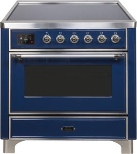 "ILVE 36"" Majestic II Series Electric Induction and Electric Oven Range with 5 Elements in Midnight Blue with Chrome Trim, UMI09NS3MBC"