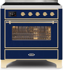 "ILVE 36"" Majestic II Series Electric Induction and Electric Oven Range with 5 Elements in Midnight Blue with Brass Trim, UMI09NS3MBG"