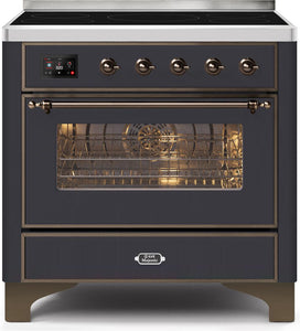 "ILVE 36"" Majestic II Series Electric Induction and Electric Oven Range with 5 Elements in Matte Graphite with Bronze Trim, UMI09NS3MGB"