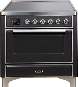 "ILVE 36"" Majestic II Series Electric Induction and Electric Oven Range with 5 Elements in Matte Graphite with Chrome Trim, UMI09NS3MGC"