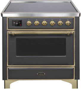 "ILVE 36"" Majestic II Series Electric Induction and Electric Oven Range with 5 Elements in Matte Graphite with Brass Trim, UMI09NS3MGG"