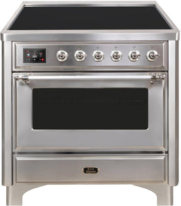 "ILVE 36"" Majestic II Series Electric Induction and Electric Oven Range with 5 Elements in Stainless Steel with Chrome Trim, UMI09NS3SSC"