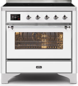 "ILVE 36"" Majestic II Series Electric Induction and Electric Oven Range with 5 Elements in White with Chrome Trim, UMI09NS3WHC"