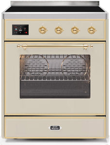 "ILVE 30"" Majestic II Series Electric Induction and Electric Oven Range with 4 Elements in Antique White with Brass Trim, UMI30NE3AWG"