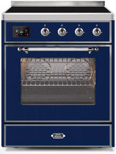 "ILVE 30"" Majestic II Series Electric Induction and Electric Oven Range with 4 Elements in Midnight Blue with Chrome Trim, UMI30NE3MBC"