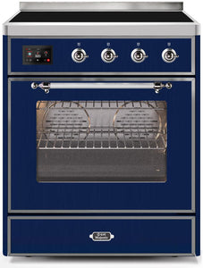 "ILVE 30"" Majestic II Series Electric Induction and Electric Oven Range with 4 Elements in Midnight Blue with Chrome Trim, UMI30NE3MBC test"