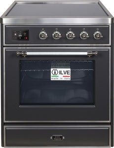 "ILVE 30"" Majestic II Series Electric Induction and Electric Oven Range with 4 Elements in Matte Graphite with Chrome Trim, UMI30NE3MGC"