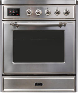 "ILVE 30"" Majestic II Series Electric Induction and Electric Oven Range with 4 Elements in Stainless Steel with Chrome Trim, UMI30NE3SSC"