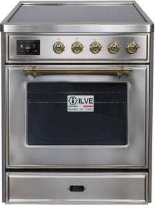 "ILVE 30"" Majestic II Series Electric Induction and Electric Oven Range with 4 Elements in Stainless Steel with Brass Trim, UMI30NE3SSG"