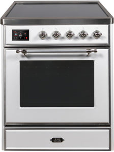 "ILVE 30"" Majestic II Series Electric Induction and Electric Oven Range with 4 Elements in White with Chrome Trim, UMI30NE3WHC"